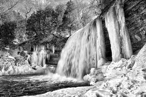 winter blackandwhite bw snow ontario ice water frozen waterfall spring flood sunny icicle manitoulinisland bridalveilfalls lakehuron northernontario northchannel runoff niagaraescarpment kagawong highway540 colorefex kagawongriver mudgebay niksoftware tonalcontrast viveza plungewaterfall silverefex detailextractor gnd3s