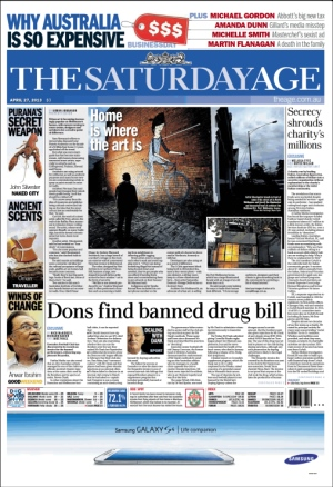 The Age front cover 27/4/2013