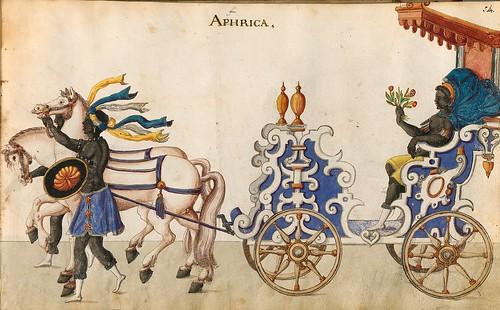 011- Cabalgata sobre los continentes-Africa-Descripción de las ocho festividades celebradas durante los juegos…1596-Biblioteca Estatal de Baviera