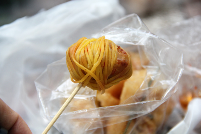 Pork meat ball wrapped in noodle
