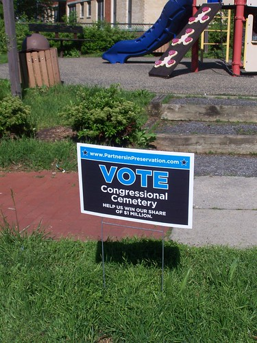 A yard sign promoting the Congressional Cemetery, in the Preservation Partners grant campaign
