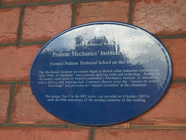Photo of Prahran Mechanics' Institute blue plaque