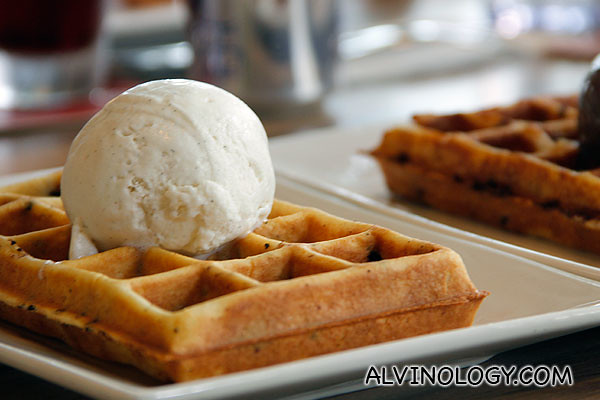 Close-up of ice cream and waffle
