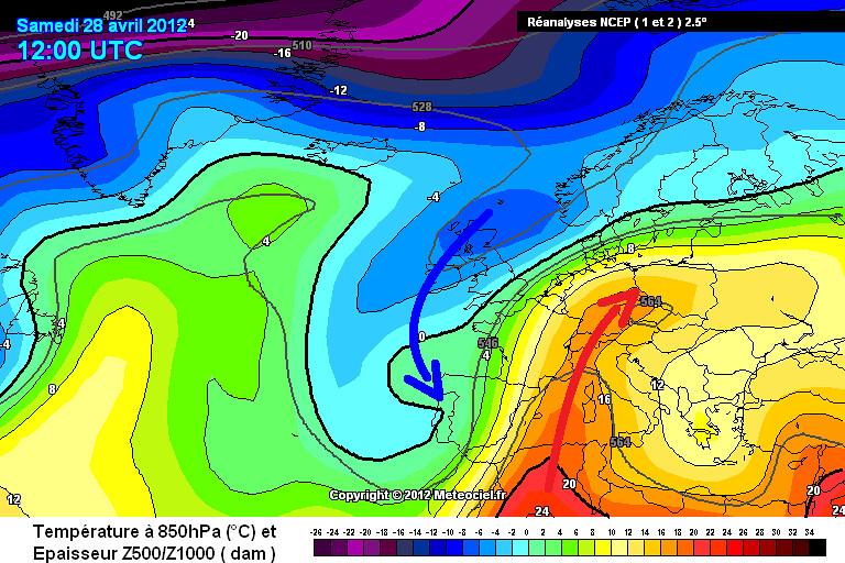 carte des masses d'air des records de chaleur et du temps contrasté le 28 avril 2012 météopassion