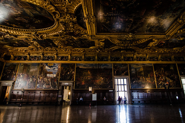 The impressive Council Chamber at The Doge's Palace, Venice.