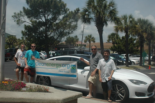 Richard Williams from the Lowcountry Plugin Drivers came with one of his Teslas.  Electric vehicles are one of the main clean energy alternatives to drilling offshore.