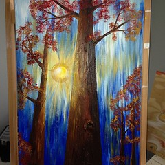 #progress on the new tree from yesterday's #livepainting at the #artwalk thanks to all my people that came out to show support!