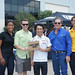 Takuma Sato and go-kart participants in Houston