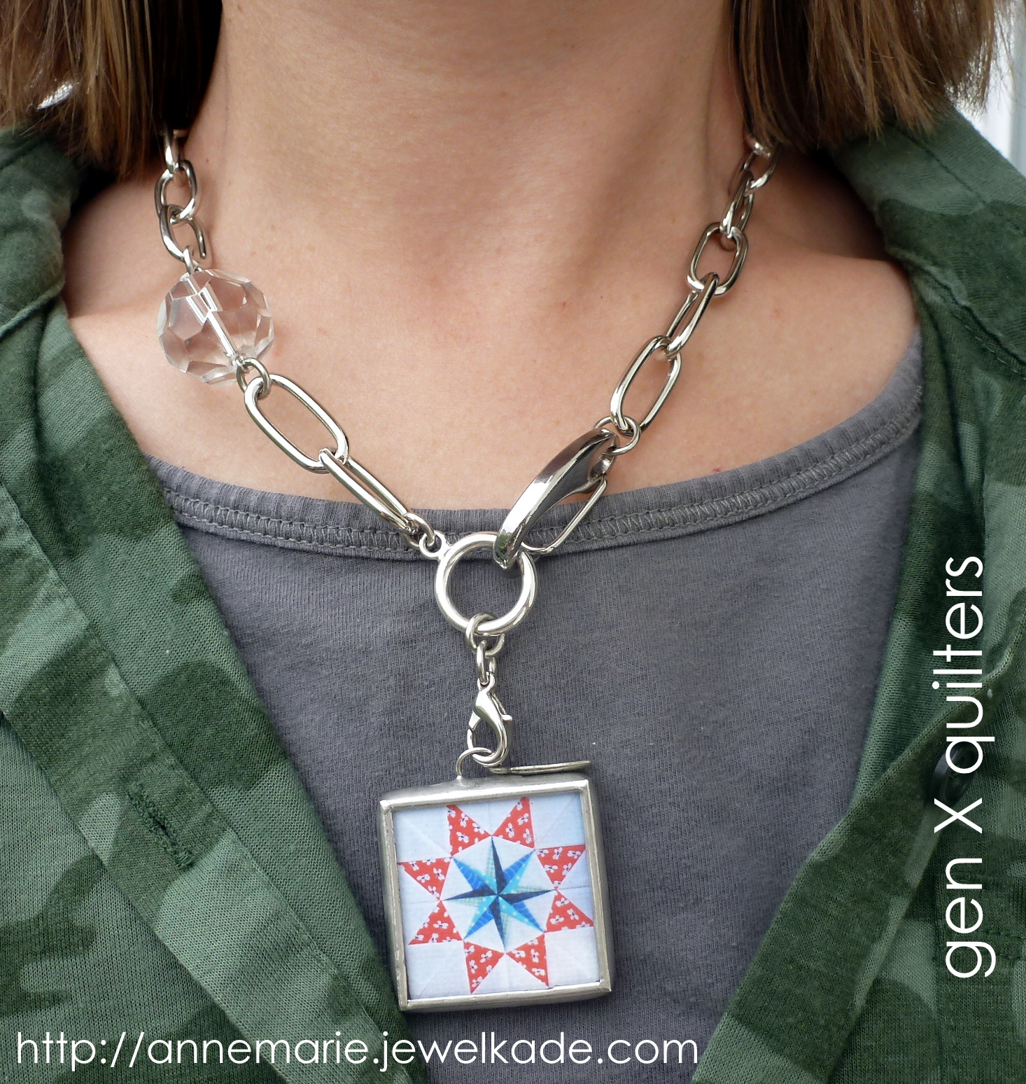 me wearing quilt block jewel kade photo charm