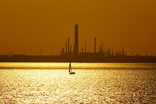 sunset sea chimney water june boat sony hampshire pylon solent sail alpha a65 2013 fawleypowerstation