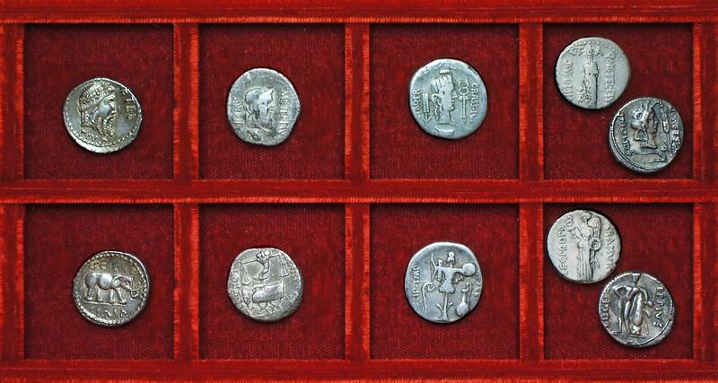 RRC 459 Q.METEL PIVS SCIPO Caecilia, RRC 460 Q.METEL PIVS SCIPO CRASSVS IVN Caecilia denarii, Ahala collection Roman Republic