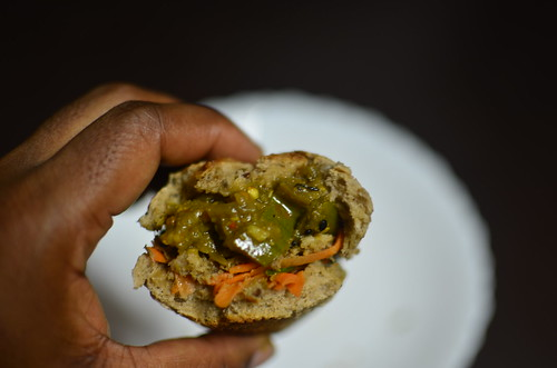 Garden Egg Sandwich with pickle and chutney