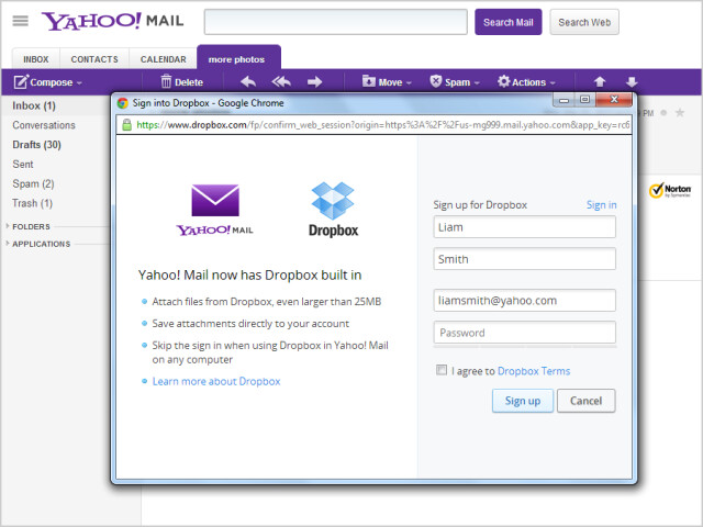 dropbox-sign-up-screen in yahoo mail