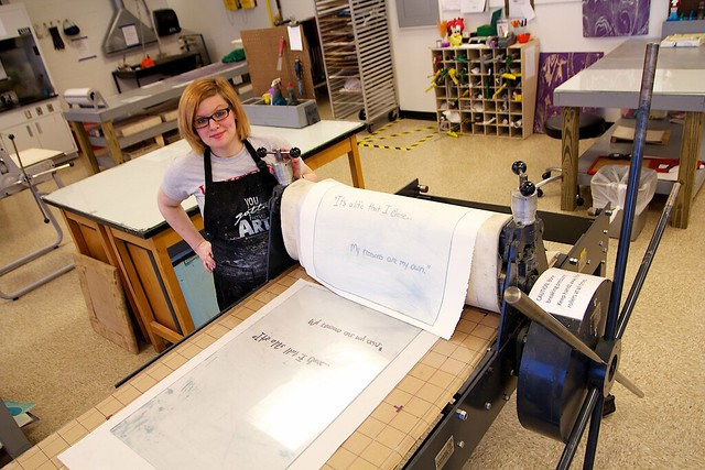 IUK student Cortney Jo Santiago preparing work for her senior art installation