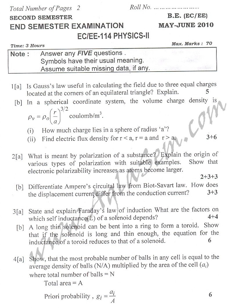 DTU Question Papers 2010 – 2 Semester - End Sem - EC-EE-114