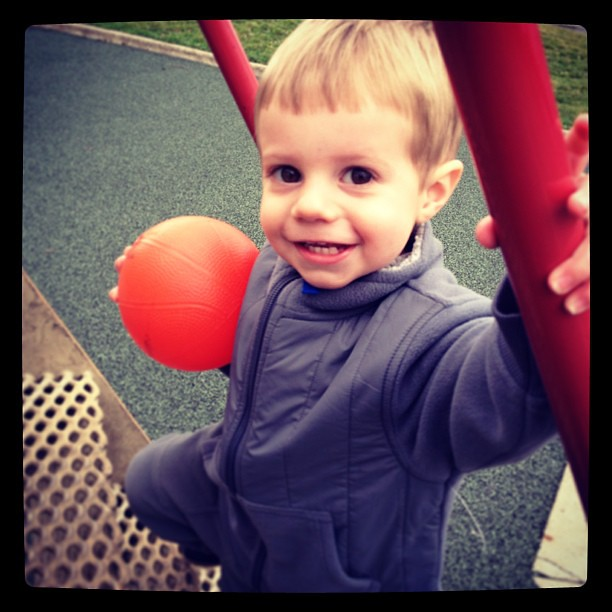 Someone was super upset that his sister left for school. Until  I took him to the park. With a ball. #park #outside #happyincle