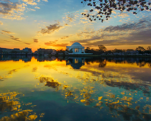 sky reflection water clouds sunrise reflections washingtondc districtofcolumbia nikon day cloudy cherryblossoms jeffersonmemorial tidalbasin d600 nikond600 nikon1635mmf4 nikonafsnikkor1635mmf40gedvr