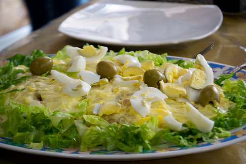 salad eggs, olives peas mayo, lettuce