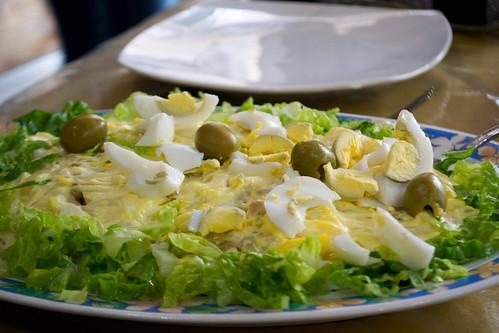 salad eggs, olives peas mayo, lettuce