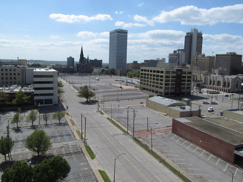 Looking west along 9th Street, part of Tulsa's parking crater, SX002814