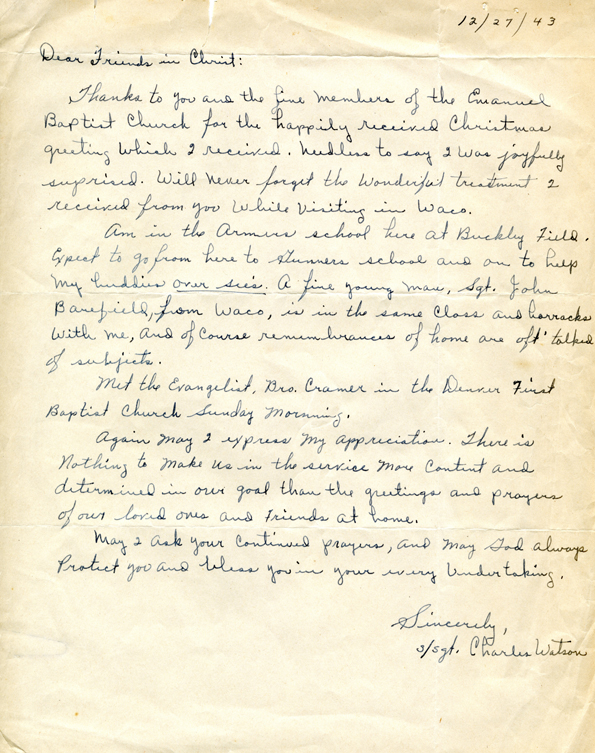 Charles Watson letter to Emmanuel Baptist Church, 1943