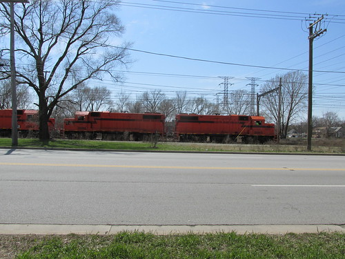 Chicago, South Shore And South Bend Railroad freight train alongside Torence Avenue.  Hegwish Illinois. (Chicago)  Sunday, April 21st, 2013. by Eddie from Chicago