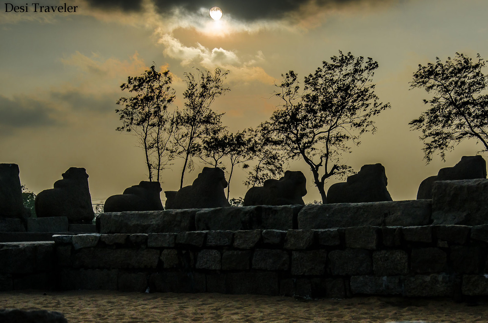 Sunset at shore temple mahabalipuram