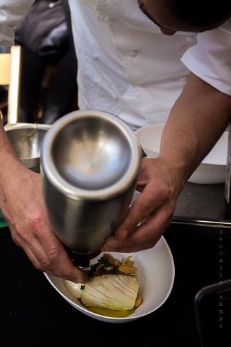 Tasca de Esquina - Lombos confitados, amêndoas e espuma de batata- Prep