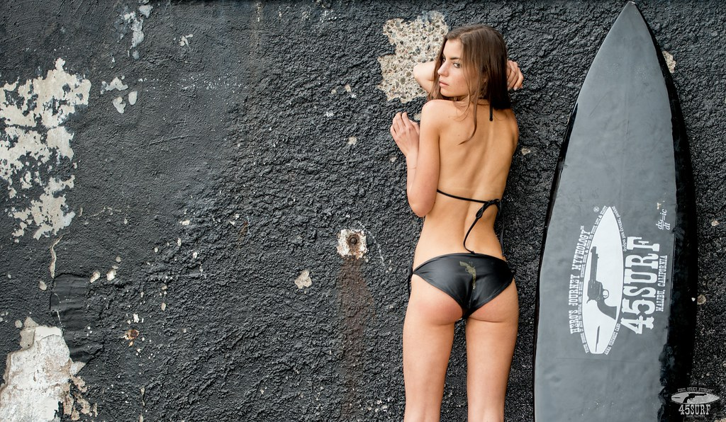 Nikon D800 Photos Beautiful Brunette  Swimsuit Bikini Model Goddess with Black Surfboard!