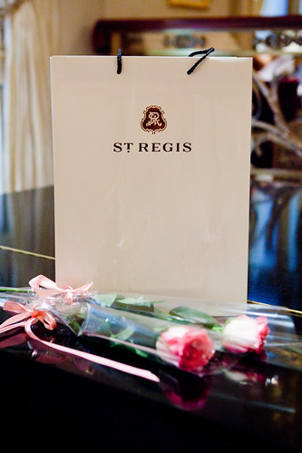 Parting gifts at Astor Court - pink roses and some sweets