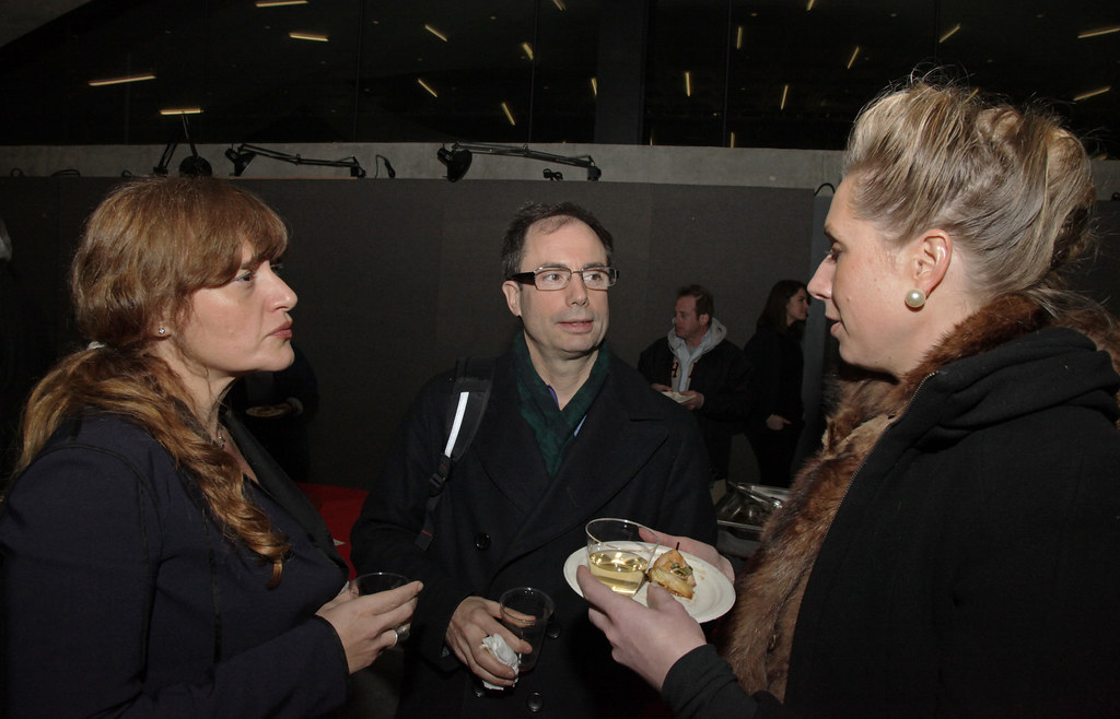From left, Maria Aiolova, Hans Strauch, and Liss Werner, at the closing reception.
