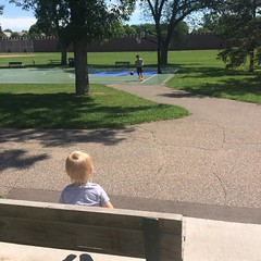 Took this kid to a playdate at the park and all he wanted to do was watch basketball. Whose kid is this?