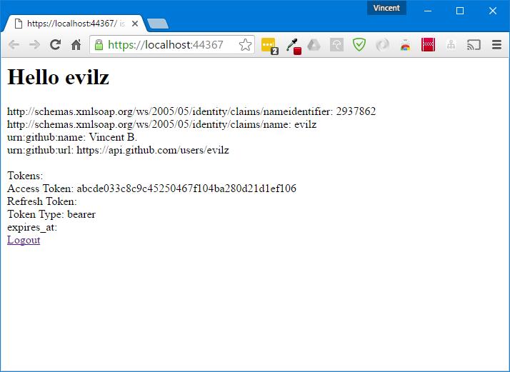 Home page en étant authentifié avec GitHub