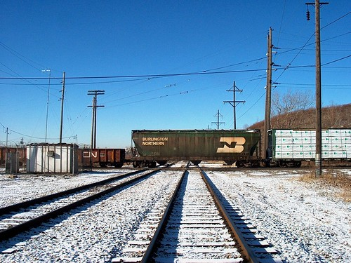 Northbound freight train passing through Hawthorne Junction.  Chicago /  Cicero Illinois.  January 2007. by Eddie from Chicago