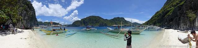 Panoramic shot of Talisayen Beach at El Nido, Palawan