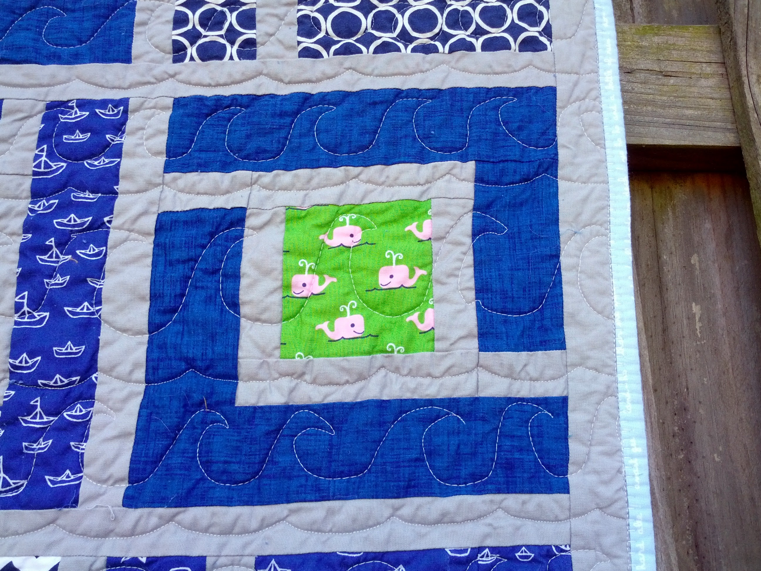 Whales and Sails - quilting detail