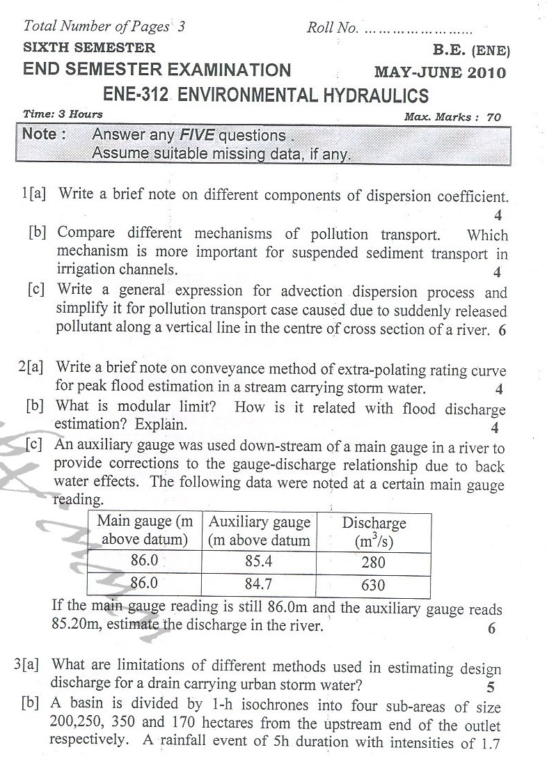 DTU Question Papers 2010 – 6 Semester - End Sem - ENE-312