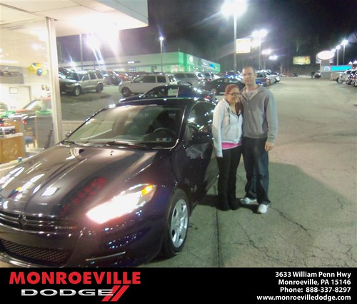 Monroeville Dodge would like to say Congratulations to Jamie Yee on the 2013 Dodge Dart by Monroeville Dodge