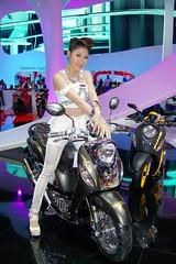 Motorbike with sexy presenter at the 34th Bangkok International Motor Show