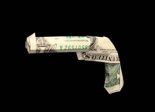 Origami money gun