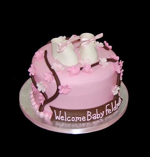cherry blossom themed baby shower cake