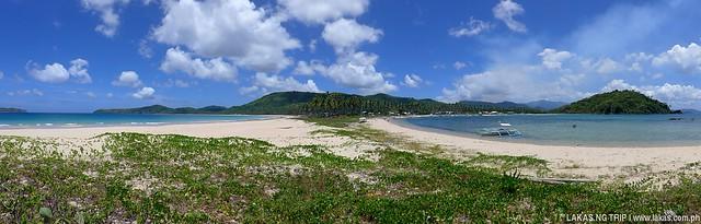 Panoramic photo where the Nacpan and Calitang Beaches meet in El Nido, Palawan