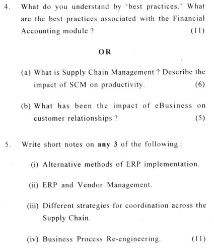 DU SOL: B.Com. (Hons.) Programme Question Paper - Enterprise Resource Planning - Paper XXXIV