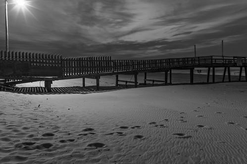 sky blackandwhite bw texture clouds landscape dawn pier nc sand northcarolina oceana atlanticbeach