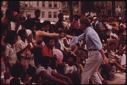 Illinois Governor Dan Walker Greets Chicago Constituents During The Bud Billiken Day Parade in 1973