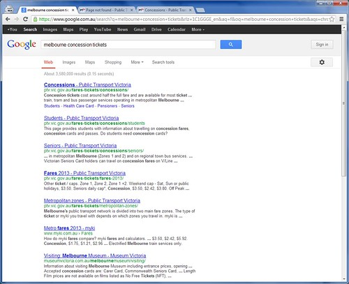 Google Search results pointing to broken pages on the PTV website