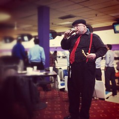 work function: bowling, beer & pretzels. two outta three ain't bad...