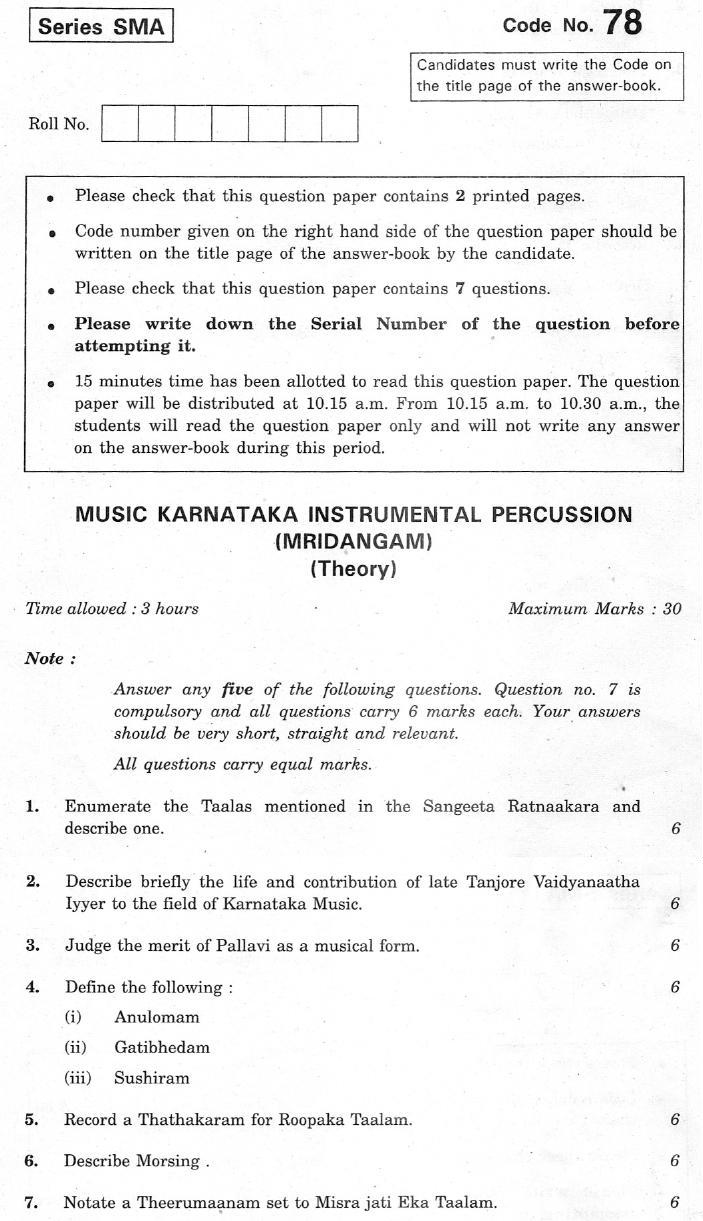CBSE Class XII Previous Year Question Paper 2012 Music Karnataka Instumental Percussion(Mridangam)
