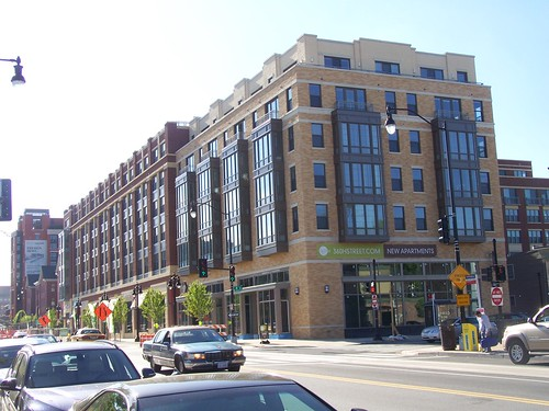 New 360 Apartment building with Giant Supermarket on the ground floor, looking east from H Street NE