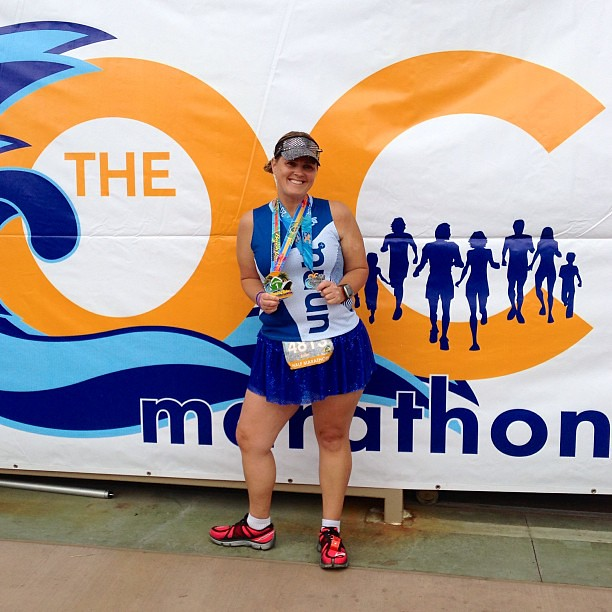Finally completed the Beach Cities Challenge at the @ocmarathon half today! Couldn't have done it without my @runteamsparkle skirt and visor plus @nuunhydration singlet! #ocmarathon #ochalf #teamsparkle